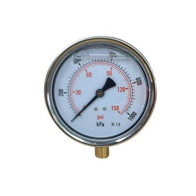 1000 Kpa 100mm X 10mm Liquid Pressure Gauge