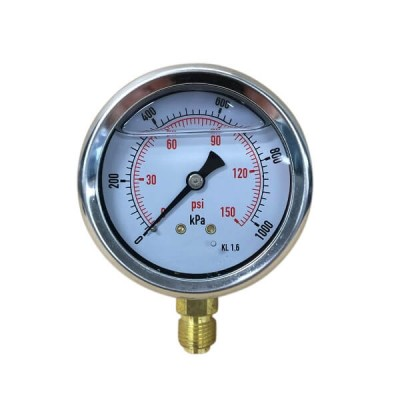 "1000 Kpa 63mm X 6mm 1/4"" BSP Liquid Pressure Gauge"