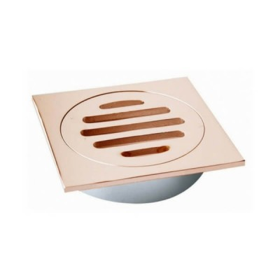 100mm Shower Floor Grate Square Drop In Suit PVC Rose Gold