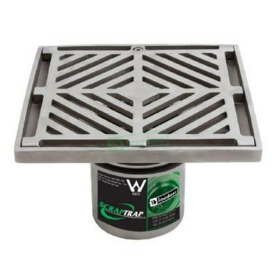 200mm Square Floor Waste With Bucket Trap Stainless Steel 304 FW-200-BS-304