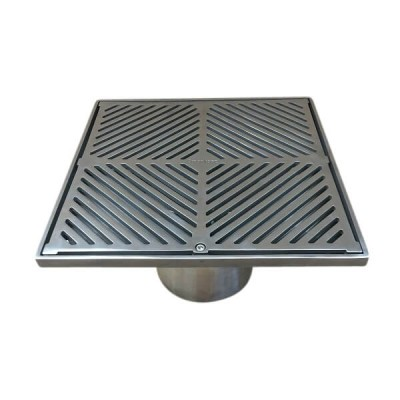 200mm Square Floor Waste Grate & Removable Strainer 316 Stainless 100mm Outlet FW-200BSM-316