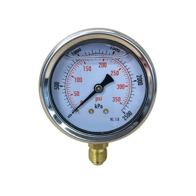 "2500 Kpa 63mm X 6mm 1/4"" BSP Liquid Pressure Gauge"