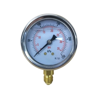 "250 Kpa 63mm X 6mm 1/4"" BSP Liquid Pressure Gauge"