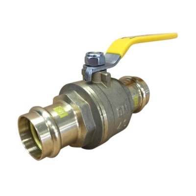 40mm Copper Press Crimp Lever Ball Valve Gas Approved