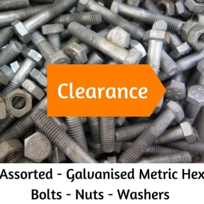 ASSORTED BULK GALVANISED METRIC HEX HEAD BOLTS - NUTS - WASHERS