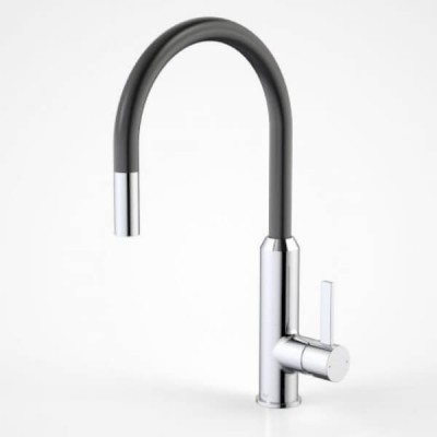 Dorf Vixen Retractable Sink Mixer Matte Black Chrome 6495.044A