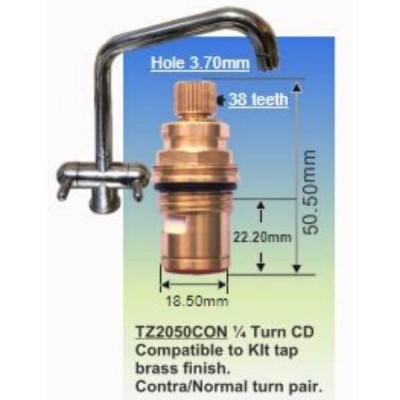 Easytap TZ2050CON 1/4 Turn Twin Handle Mixer Spindles Lever Contra