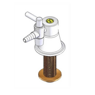 Enware LC123 TYPE 38 1 Way Laboratory Gas Turret White 15mm Male