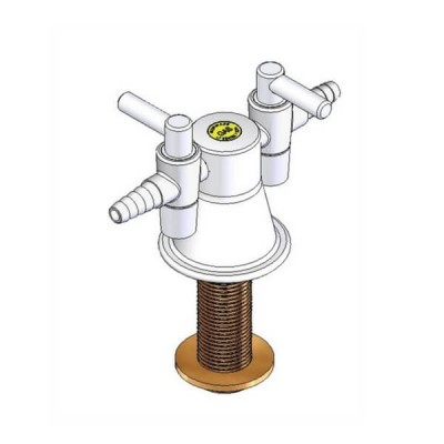 Enware LC124 TYPE 39 2 Way Laboratory Gas Turret White 15mm Male