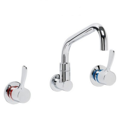 Enware LEV80315 80mm Recess Wall Tap Set With Spc110 Spout Quarter Turn