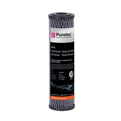 "Puretec DP101 10 Micron Dual Purpose Carbon Water Filter Cartridge 2.5"" x 10"""
