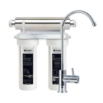 Puretec ESR2 Ecotrol Twin Cartridge Ultraviolet Rain Water Filter Undersink High Loop LED Faucet