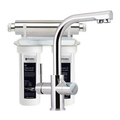 Puretec ESR2 T3 Tripla Twin Cartridge Ultraviolet Rain Water Filter Undersink 3 Way LED Mixer Tap