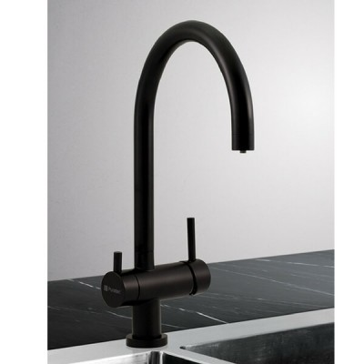 Puretec QT12-BL2 Matt Black Tripla 3 Way Mixer Tap Including Undersink Water Filter