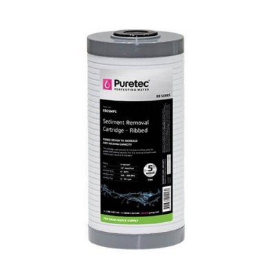 "Puretec RB05MP1 5 Micron Ribbed Sediment Water Filter Cartridge 4.5"" X 10"""