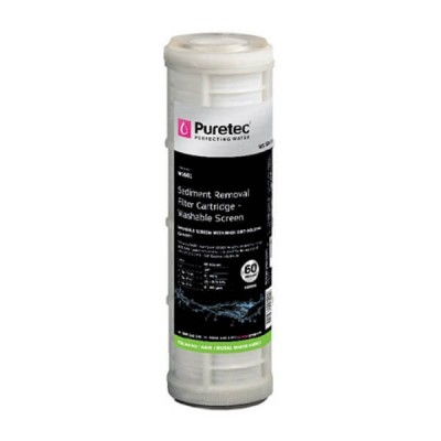 "Puretec WS601 60 Micron Washable Screen Water Filter Cartridge 2.5"" X 10"""