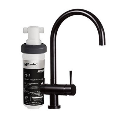 Puretec Z1-BL2 Matt Black Tripla 3 Way Mixer Tap Including Undersink Water Filter