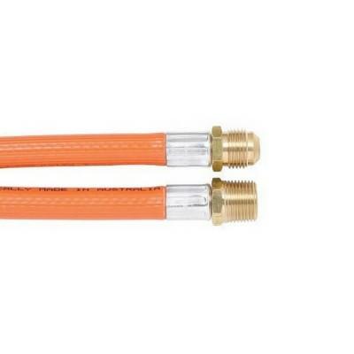 """900mm PVC LP Gas Hose 3/8"""" BSP Male X 3/8"""" SAE Male Flare 6HDB Class C"""