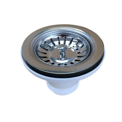 90mm X 50mm Pvc Sink Basket Plug & Waste Stainless Steel