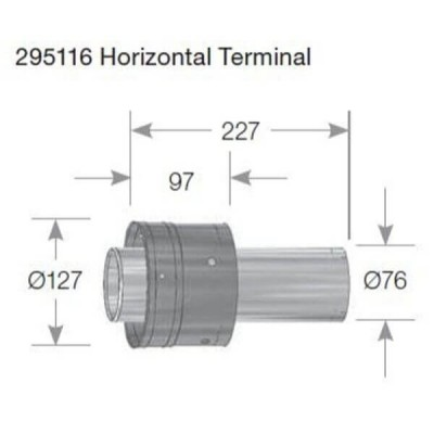 Rheem 27 Internal Flue Horizontal Terminal 295116