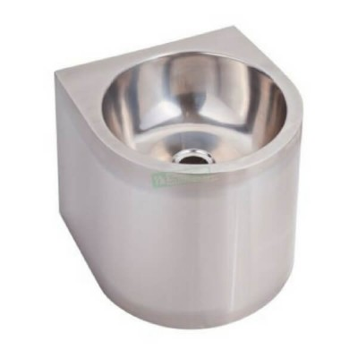 Round Wall Hand Basin 365mm With Shroud Stainless Steel HBRS