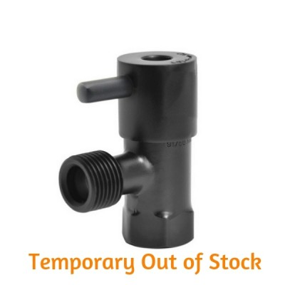 Mini Cistern Stop Quarter Turn Lever Matt Black 15mm