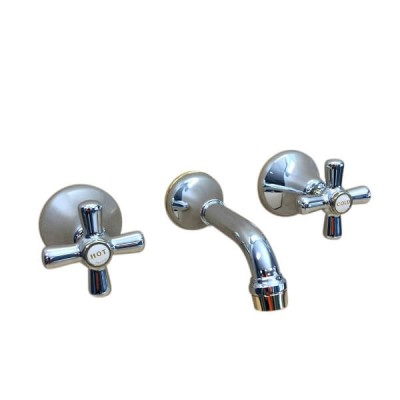 Traditions Bath Set Chrome Gold Ceramic Disc 150mm Fixed Outlet STC182