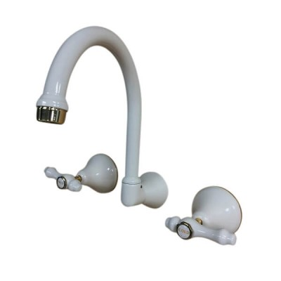 Traditions Lever Wall Sink or Bath Set Ivory Gold Ceramic Disc Swivel Outlet TL2887