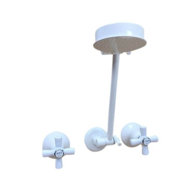 Traditions Shower Set White Chrome Ceramic Disc All Directional Arm STC146