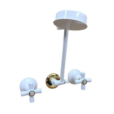 Traditions Shower Set White Gold Ceramic Disc All Directional Arm STC160