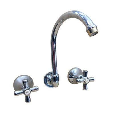 Traditions Wall Sink or Bath Set Chrome Gold Ceramic Disc Swivel Outlet STC322