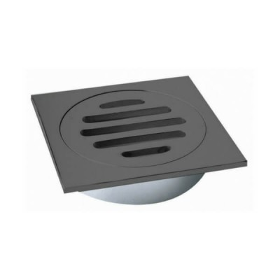 100mm Shower Floor Grate Square Drop In Suit PVC Matt Black