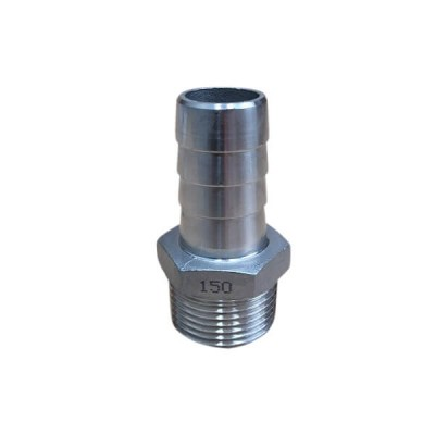 "15mm 1/2"" Hose Nipple BSP Stainless Steel 316 150lb"
