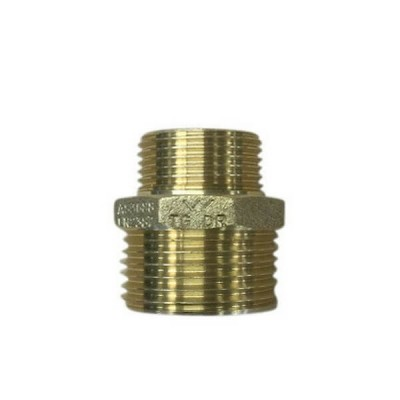 "15mm 1/2"" X 10mm 3/8"" Brass Hex Nipple BSP"