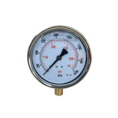 1600 Kpa 100mm X 10mm Liquid Pressure Gauge