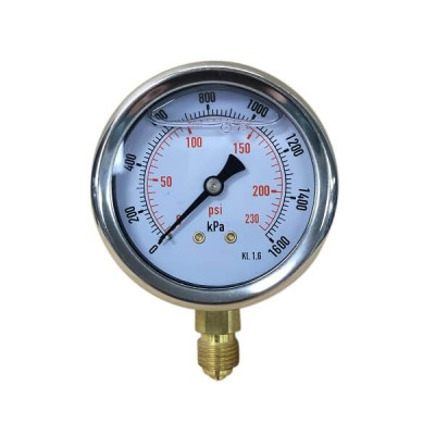 "1600 Kpa 63mm X 6mm 1/4"" BSP Liquid Pressure Gauge"