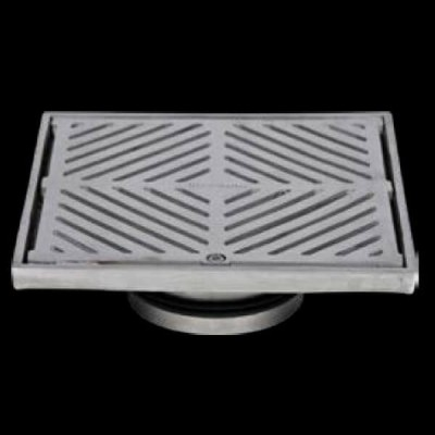 200mm Square Floor Waste Hinged Grate 316 Stainless Steel 100mm Outlet FW-200S-316