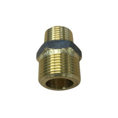 20mm X 15mm Brass Hex Nipple Flat Seat
