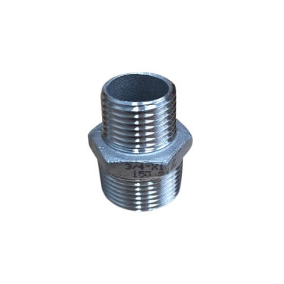 "20mm X 15mm 1/2"" Hex Nipple BSP Stainless Steel 316 150lb"
