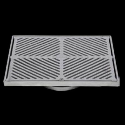 300mm Square Floor Waste Hinged Grate 316 Stainless Steel 100mm Outlet FW-300S-316