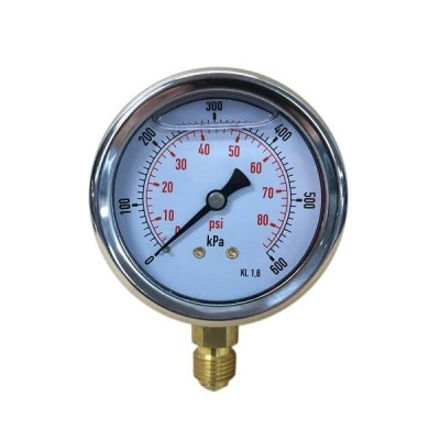"600 Kpa 63mm X 6mm 1/4"" BSP Liquid Pressure Gauge"