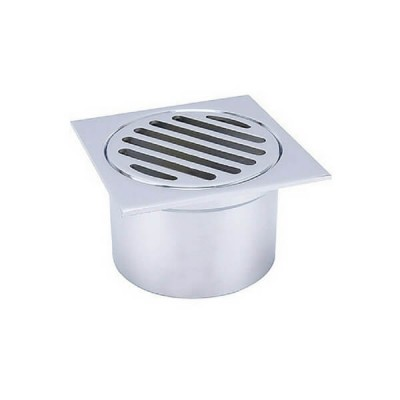 80mm Shower Floor Grate Chrome Square Drop In Suit Leak Control