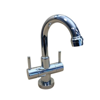 Broadway Twinner Basin Tap Chrome Lever Ceramic Disc Swivel Outlet MT6956