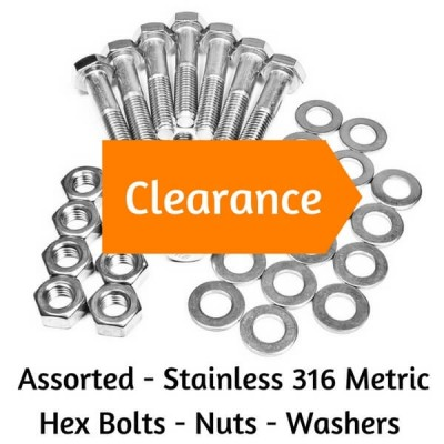 ASSORTED BULK STAINLESS STEEL 316 METRIC HEX HEAD BOLTS - NUTS - WASHERS