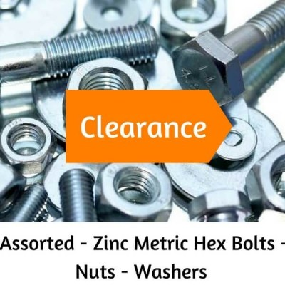 ASSORTED BULK ZINC METRIC HEX HEAD BOLTS - NUTS - WASHERS