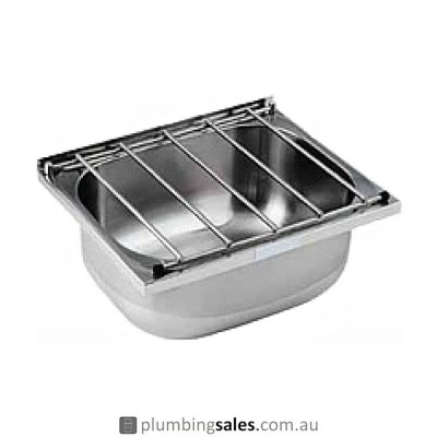Cleaners Sink Stainless Steel Includes Grate & Wall Brackets