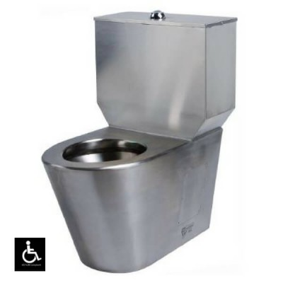 Disabled Toilet Suite Close Couple P Trap Stainless Steel WC-SSDCCP