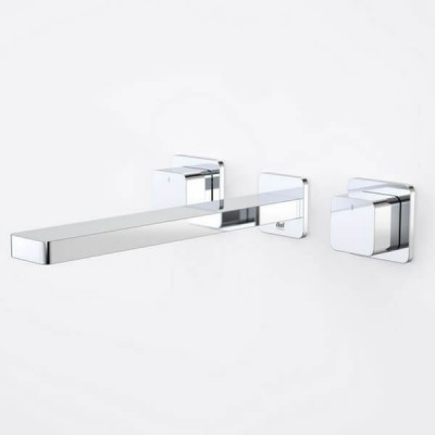 Dorf Epic Bloc Wall Basin Bath Tap Set 240mm Chrome 6218.045A