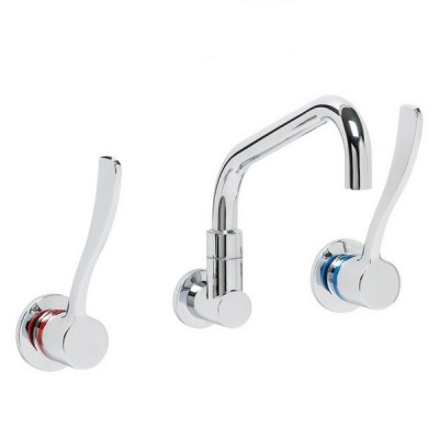 Enware LEV150315 150mm Recess Wall Tap Set With Spc110 Spout Quarter Turn