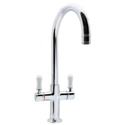 Ewing Hampton Twinner Sink Mixer White Chrome 5 Star 6 L/Min MT23W